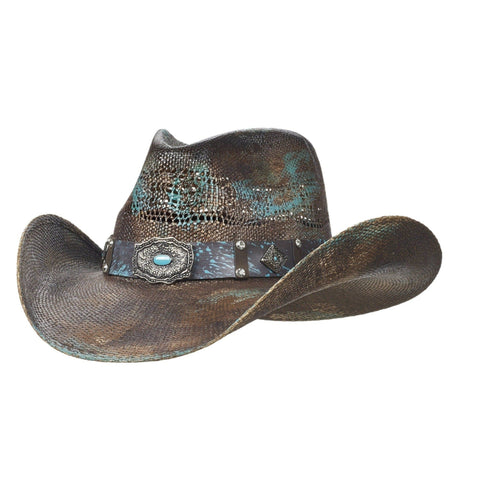 Bangora cowboy hat for girls with turquoise
