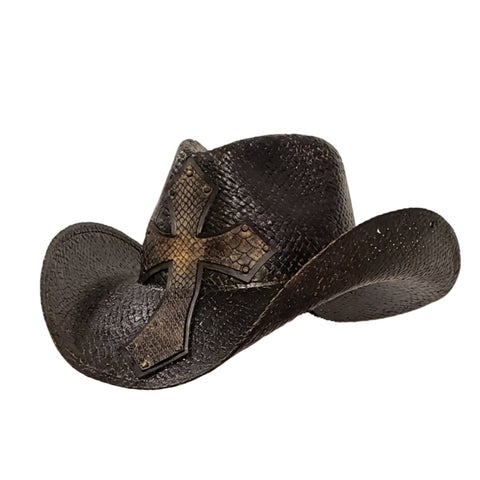 Black Straw Cowboy Hat With A Cross On Front