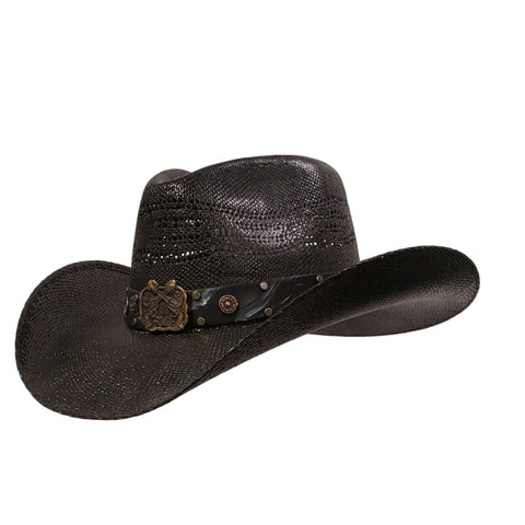 Black vented pinch crown bangora cowboy hat with pistols on the hatband