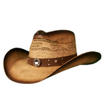 brown vented bangora cowboy hat with  Firefighter band