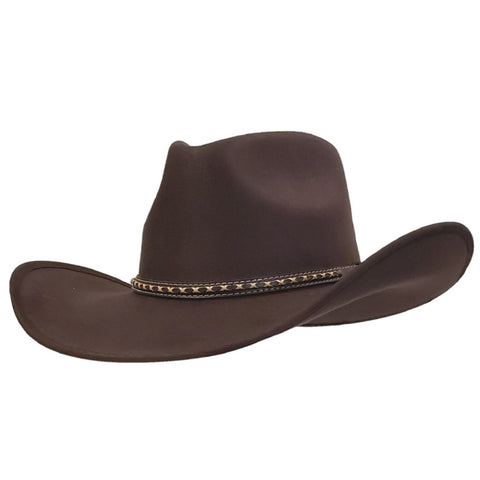 Brown pinch crown cotton felt cowboy hat  from Gone Country Hats.
