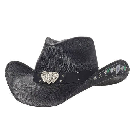 black bangora cowboy hat for girls with hearts and flowers