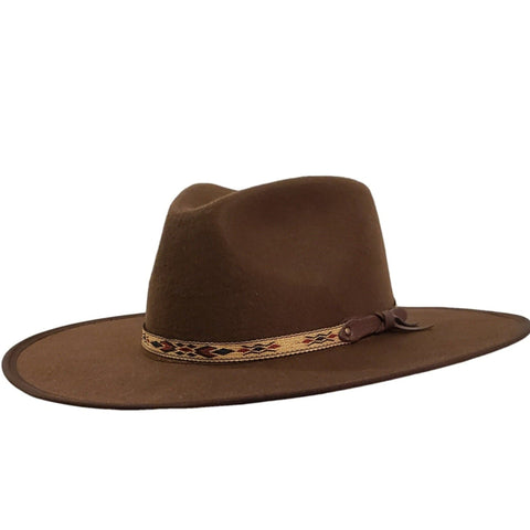 brown felt flat cowboy hat