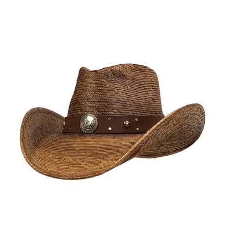 Brown palm cowboy hat with an army hat band