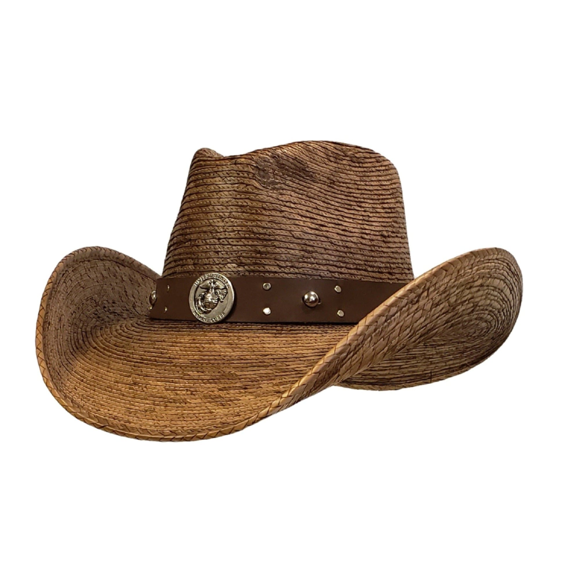 Brown palm cowboy hat with an marine hat band