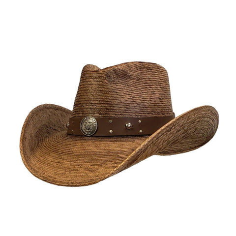 Brown palm cowboy hat with an navy hat band