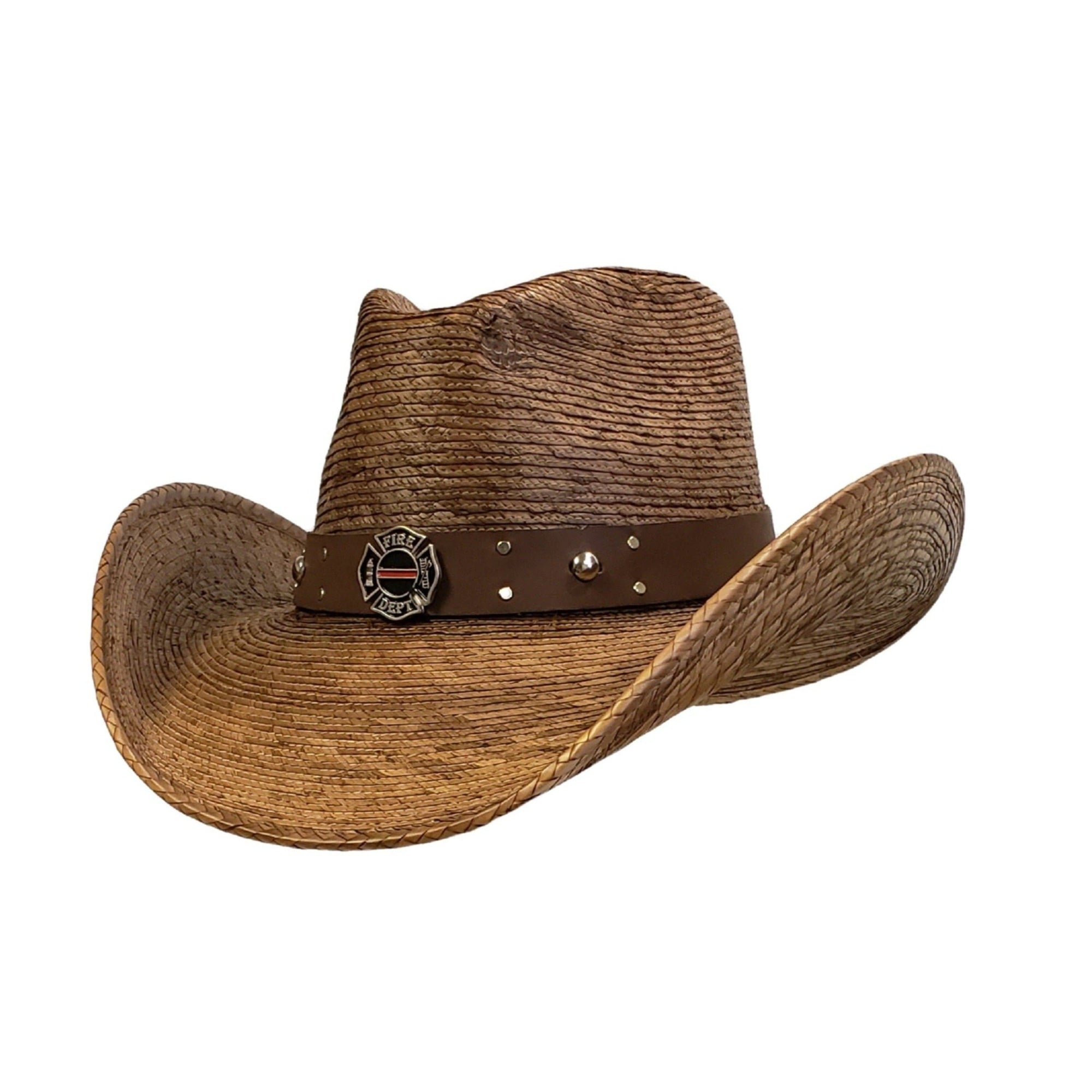 Brown palm cowboy hat with an firefighter hat band
