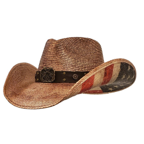 brown palm straw cowboy hat with American Flag