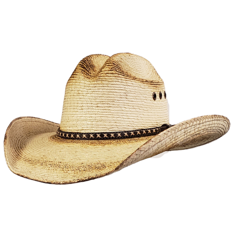 Palm Jason Aldean style cowboy hat with burnt edges