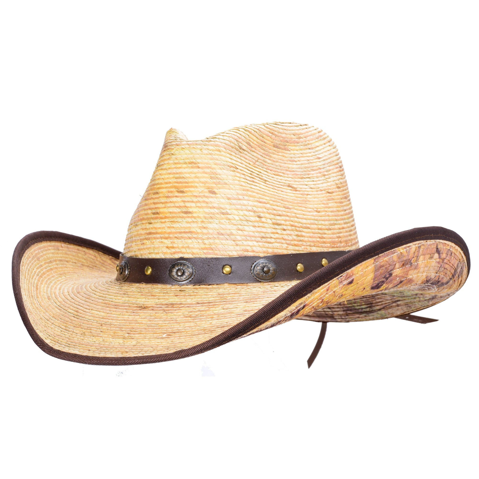 Natural palm cowboy hat with woodsy camo print on the underside