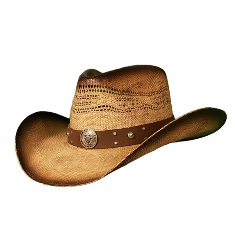 brown vented bangora cowboy hat with Navy band