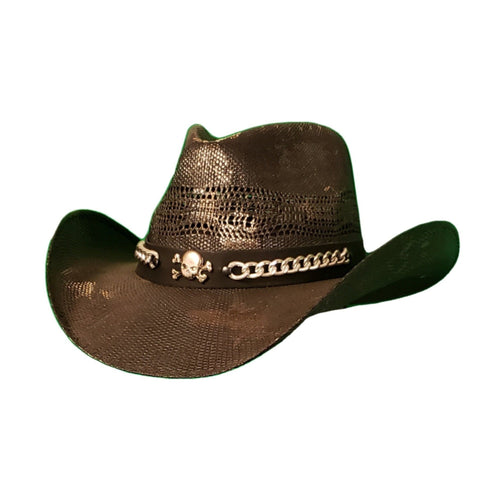 Black bangora cowboy hat with attitude - skull and chain on the hatband. Gone Country Hats