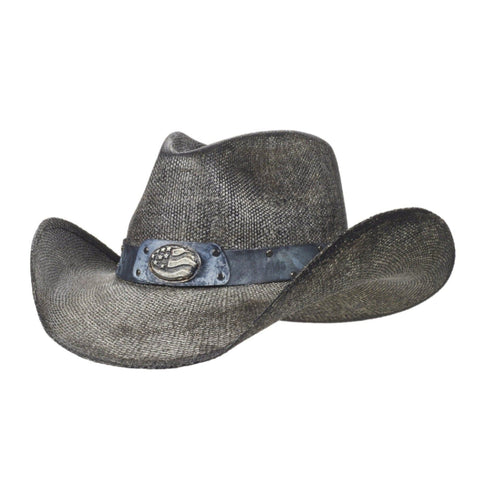 Gray bangora cowboy hat with grayscale American flag on band