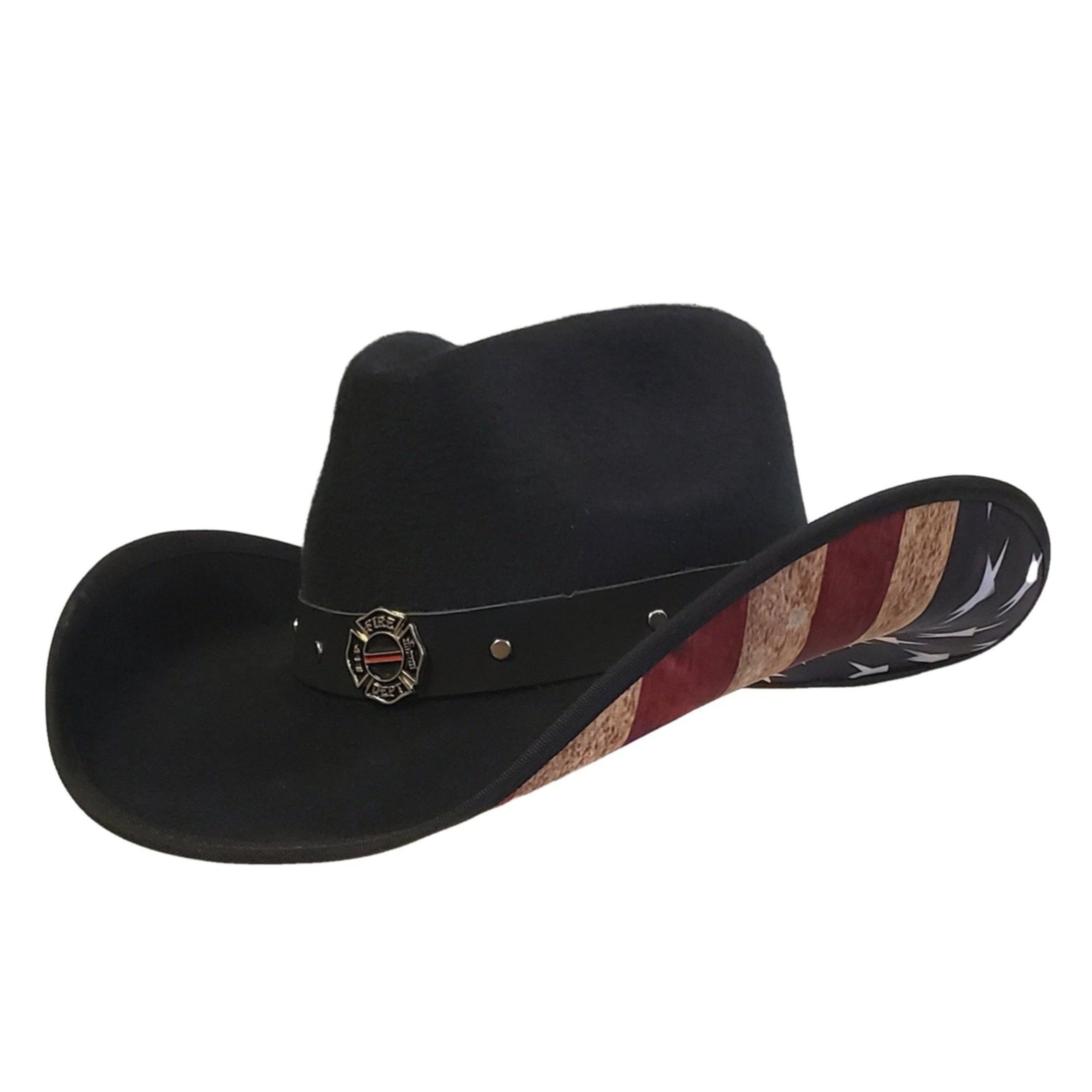 Black faux felt Gone Country Hats cowboy hat with American Flag fabric under the brim and a Firefighter emblem on the hatband
