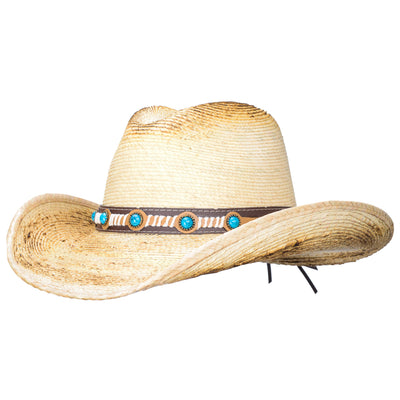 Classy palm straw cowboy hat with turquoise on the hatband
