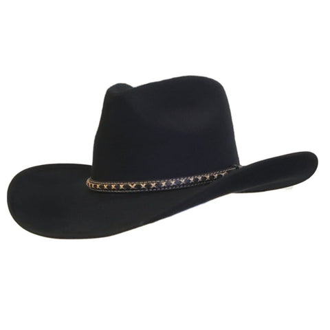 Gone Country Hats black cotton felt pinch crown cowboy hat called Santa Fe