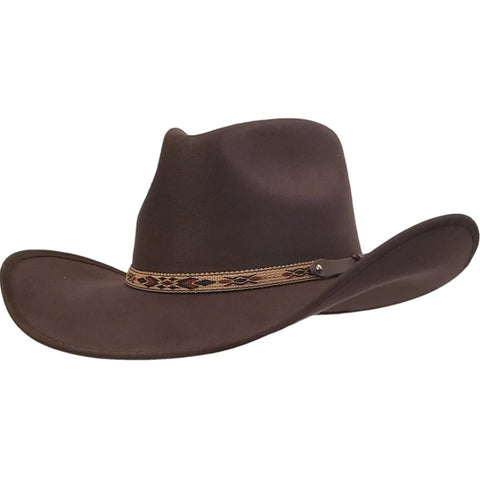 Brown faux felt pinch crown cowboy hat from Gone Country Hats with an Aztec patterned hatband