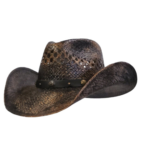 Brown and black vented straw cowboy hat. Gone Country Hats