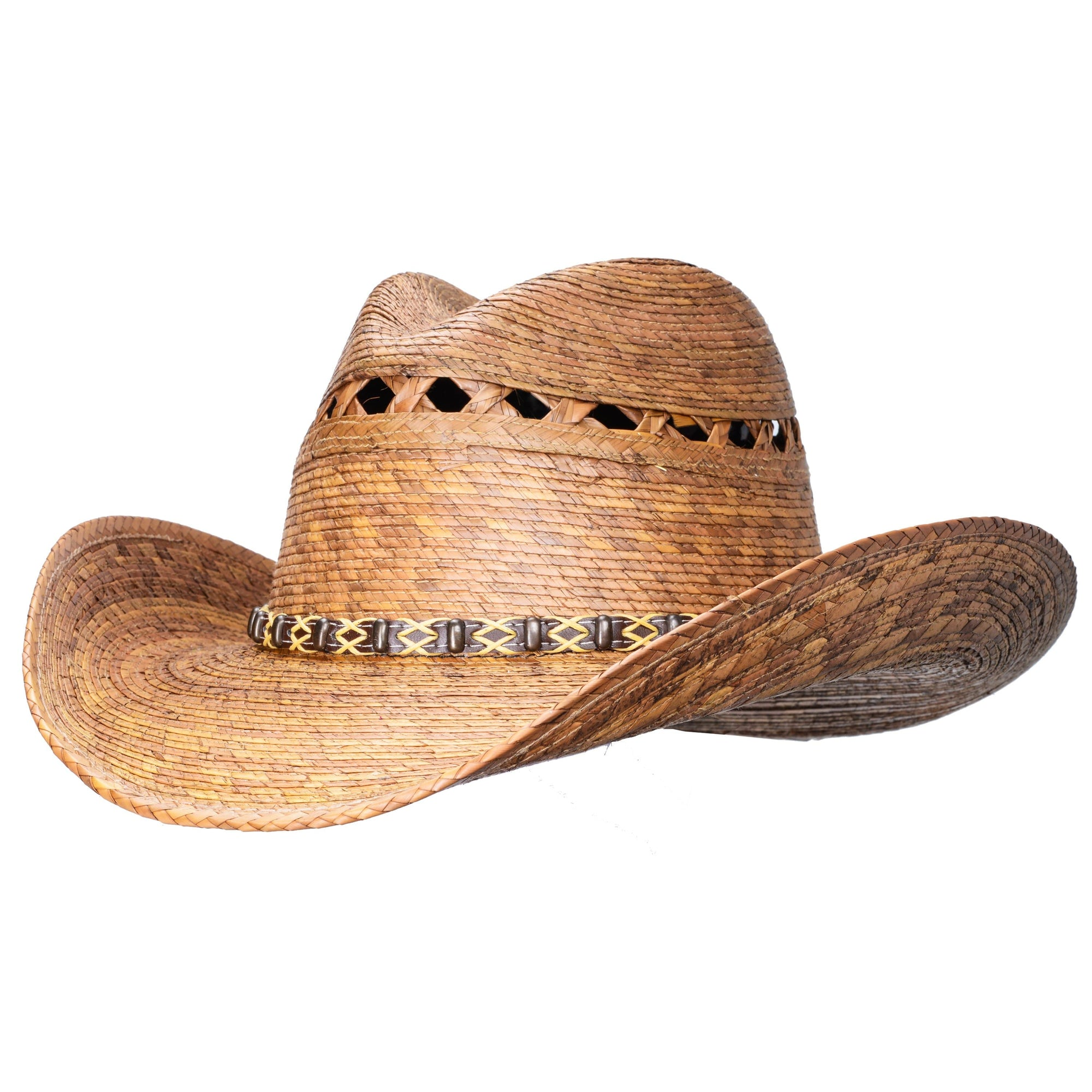 Shapeable  palm straw cowboy hat with attitude. Water resistant and durable.