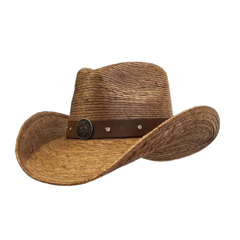 Brown palm straw cowboy hat Police emblem. Gone Country Hats