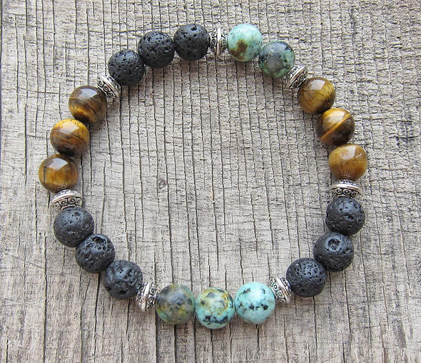 Natural Lava Stone AfricanTurquoise Yellow Tiger Eye Bracelet