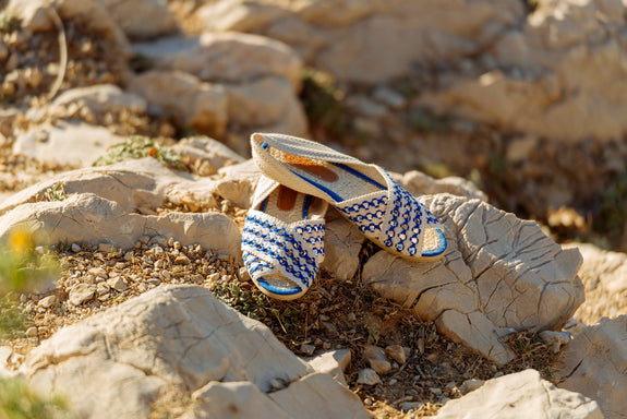 sandale bleu klein été anasü anasü shoes slow fashion colombie espadrille