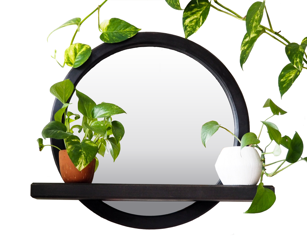 Circle Mirror with Shelf