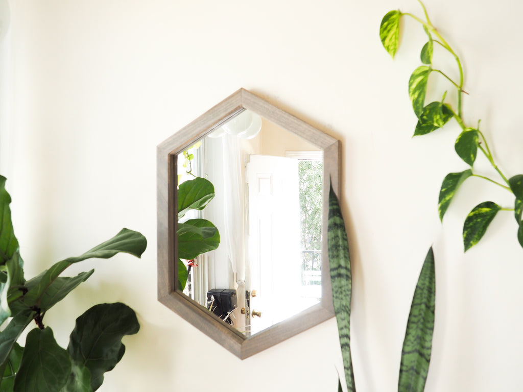 hexagon wooden shelf mirror
