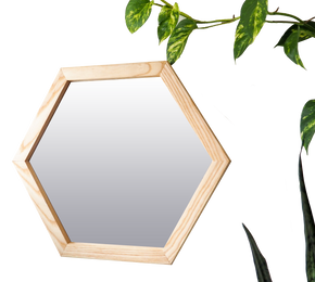 Ash Wood Frame Hexagon Mirror