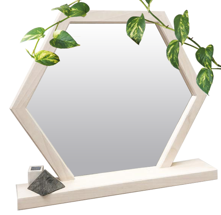 Functional Hexagon Mirror Shelf