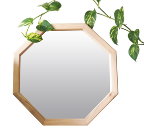 Octagon Wood Frame Mirror