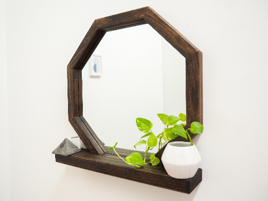 Modern Wooden Mirror with Shelf