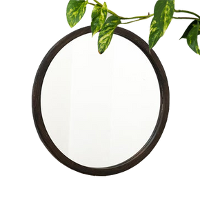 Contemporary Round Wooden Framed Mirror