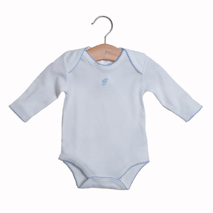 Bodysuit long sleeves for baby boy, color Eco-white and Blue. Sizes: Premature, 0-3 Months and 3-6 months.