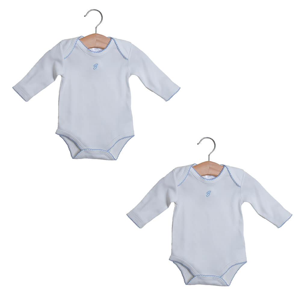 2-pack Bodysuit long sleeves for baby boy, color Eco-white and Blue. Sizes: Premature, 0-3 Months and 3-6 months.