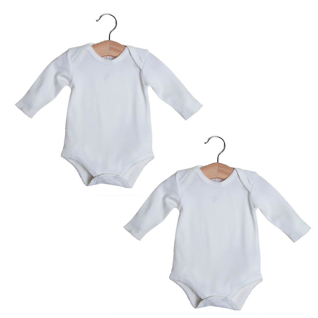 BABY NEUTRAL - 2-Pack Organic Pima cotton Unisex baby Bodysuits Long sleeves