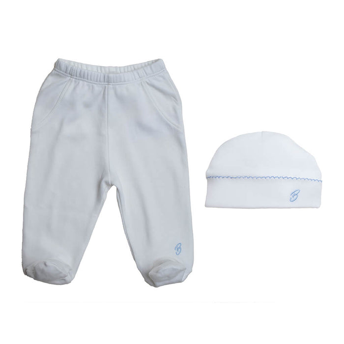 BABY BOY - 2-Pack Organic Pima cotton Footie Pants + Double-layer Hat