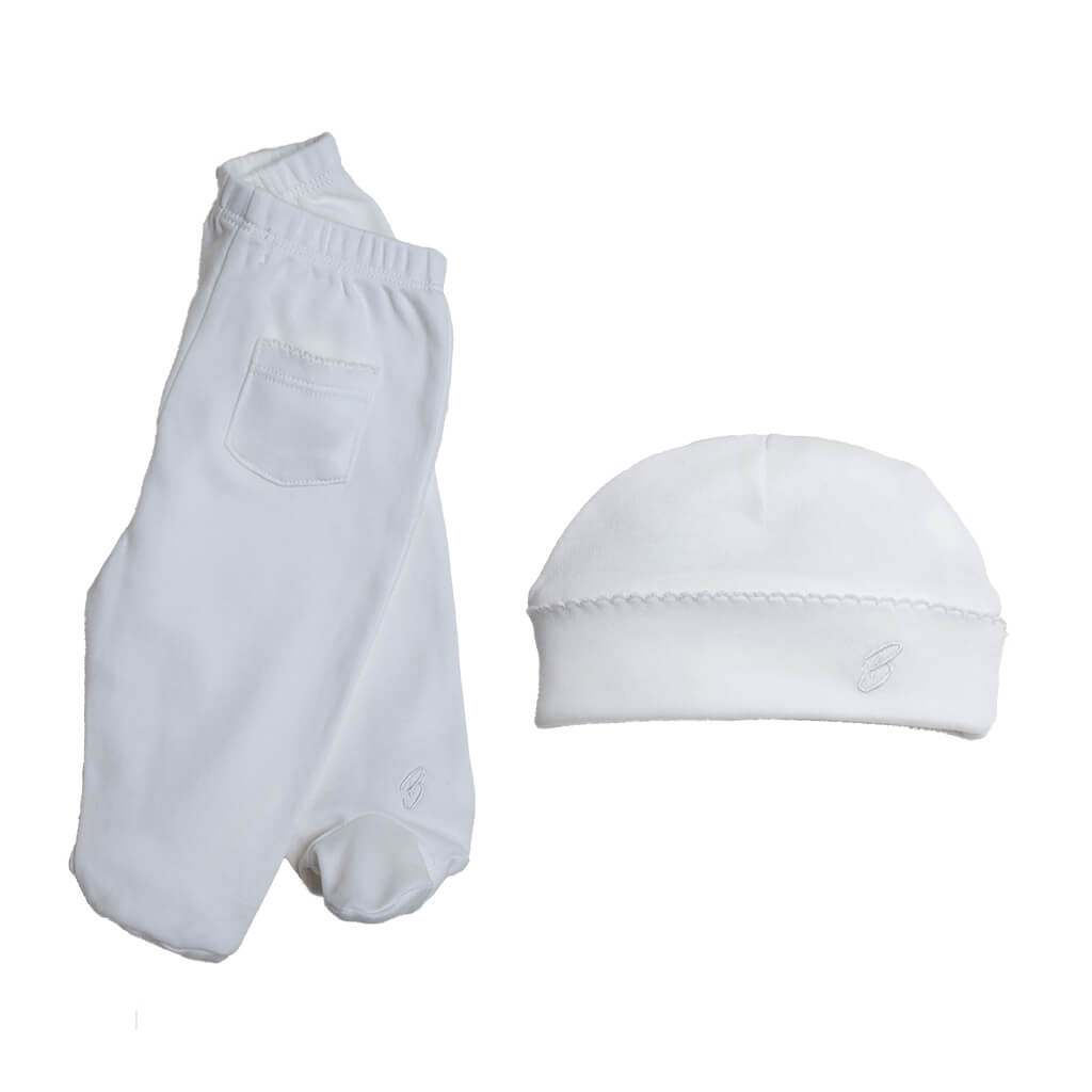 BABY NEUTRAL - 2-Pack Organic Pima cotton Baby Unisex Footed Pant + a Double-layer Hat
