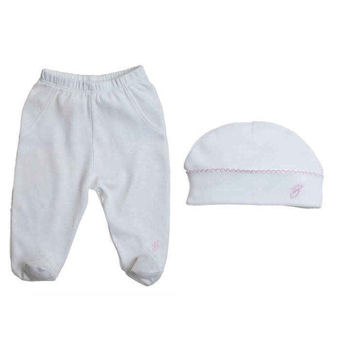 BABY GIRL - 2-Pack Organic Pima cotton Footed baby Pants + a Double-layer baby Hat