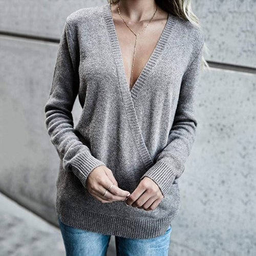 V-Neck Langarm Sweatshirt