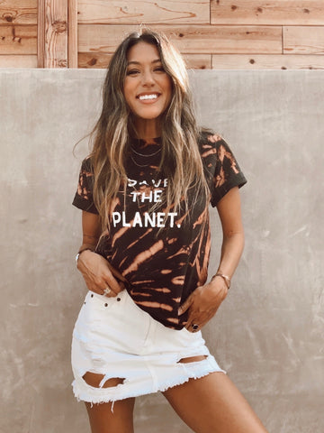 """SAVE THE PLANET"" tie dye tee"