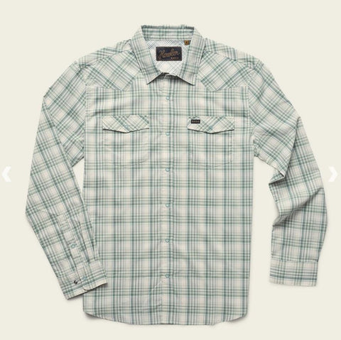 Howler Bros H Bar B Snapshirt- Bolan Plaid : Juniper Green