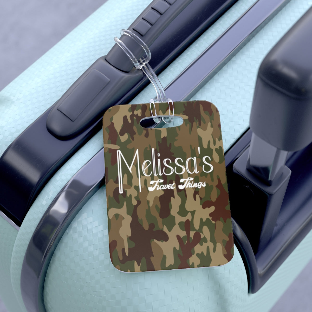 Camo Personalized Bag Tag AOP Green, Brown, Tan - skyrockettees