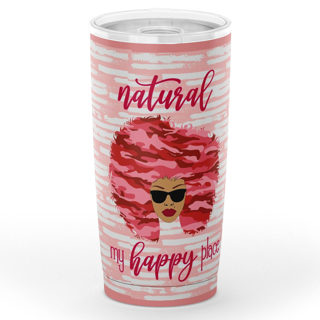 Pink Camouflage Happy Natural Nubian Tumbler - skyrockettees
