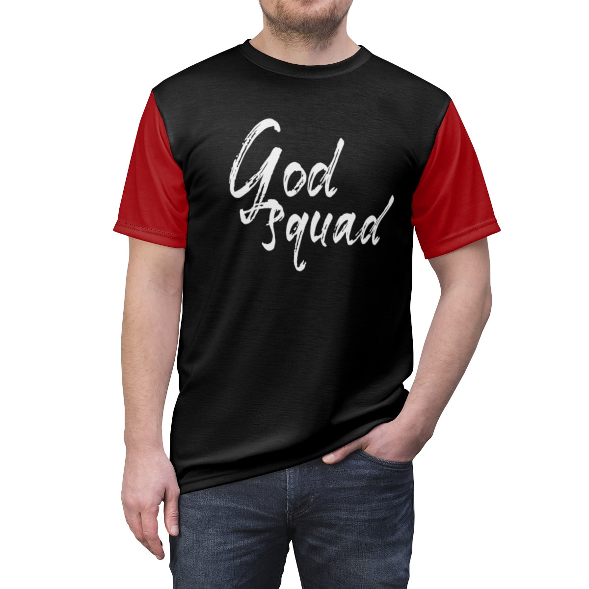 God Squad Bold Expressive Unisex T-Shirt, AOP Cut & Sew Tee - skyrockettees