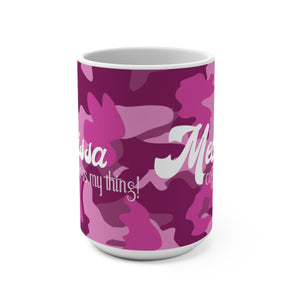Camo Pink Personalized Mug 15oz AOP - skyrockettees