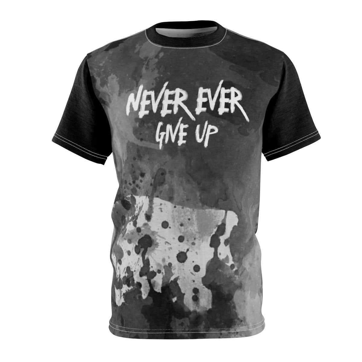 Inspirational Unisex T-shirt, Never Ever Give Up Tee, AOP Cut & Sew - skyrockettees