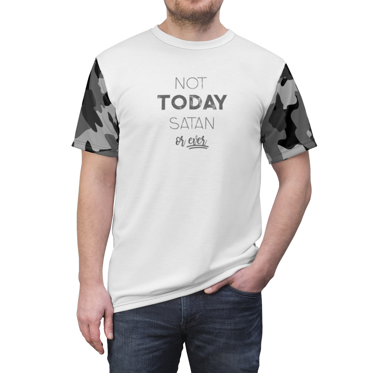 Not Today Satan Black Camouflage Unisex T-shirt, Camo Tee, AOP - skyrockettees