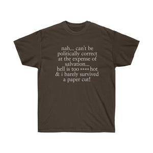Nah Can't Be Political Humor Unisex Ultra Cotton Tee - skyrockettees