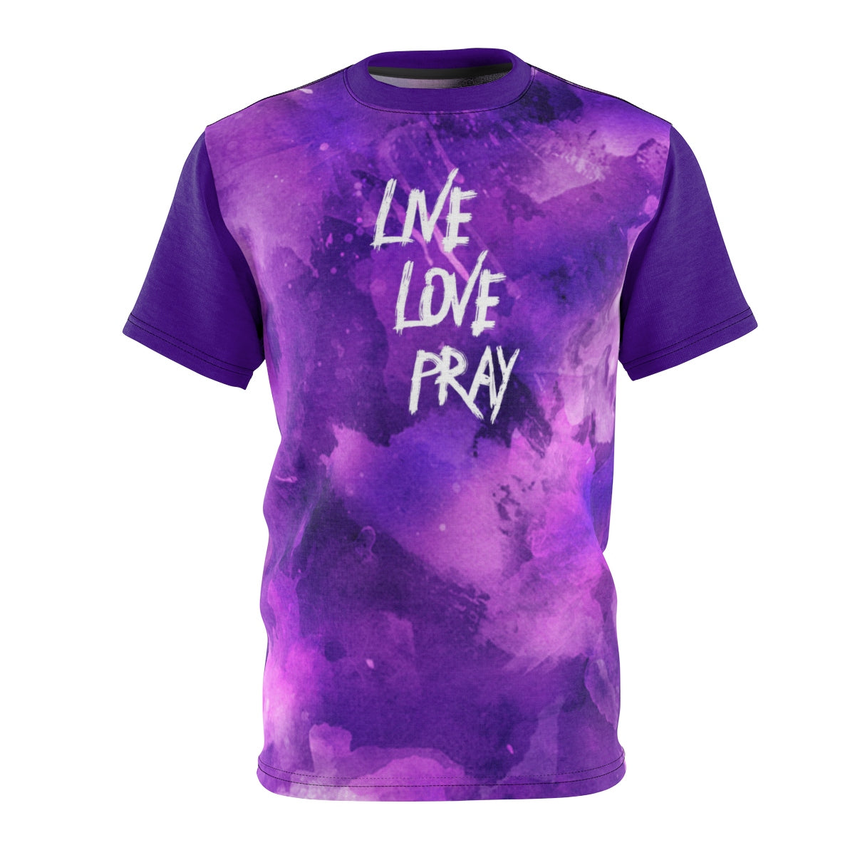Inspirational Unisex T-shirt, Live Love Pray Tee, AOP Cut & Sew - skyrockettees